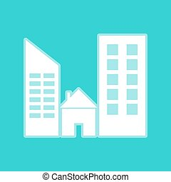 Real estate sign. White icon with whitish background on...