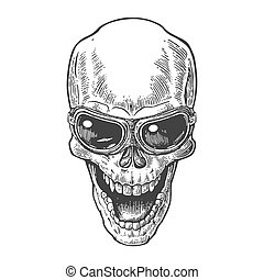 Skull smiling with glasses for motorcycle. Black vintage...