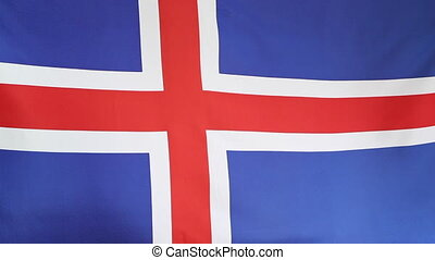 Textile national flag of Iceland moving in the wind