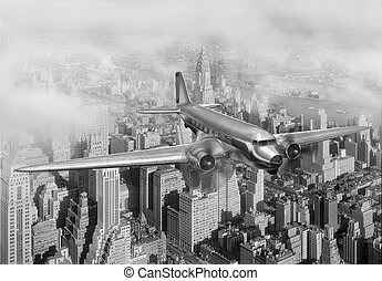 DC-3 Over NYC - Vintage image of a Douglas DC-3 over New...
