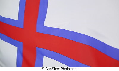 Faroe Islands flag in slow motion - Closeup of the Faroe...