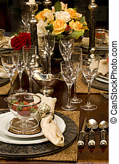 Fine Dining - Lavish table setting with floral centerpiece