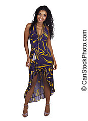 Beautiful African woman with long curly hair in purple...