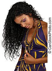 bonito, africano, mulher, longo, cacheados, cabelo