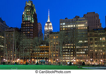 Night comes to the Empire State - Bryant Park is located in...