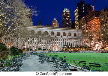 Bryant Park and NY public library - Bryant Park is located...