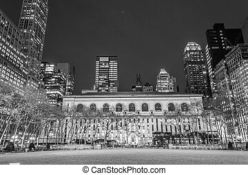 New York Public Library in black and white - Bryant Park is...
