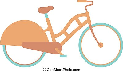 Stylish womens bicycle isolated on white background wheel...