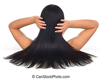 Beautiful Hair - Woman with long black hair on a white...