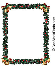 Holly Border isolated on white - Holly garland border with...