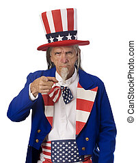 Uncle Sam Wants YOU - Classic Uncle Sam poster pose on a...