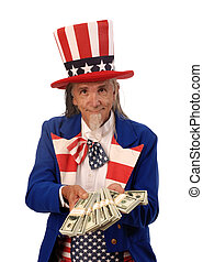 Government Spending - Uncle Sam on a white background...