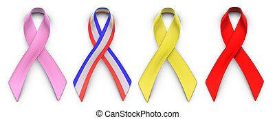 Ribbons for Causes - Four advocacy ribbons on a white...