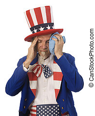 Health Care Reform - Uncle Sam feeling sick with an oral...