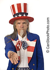 Uncle Sam Want\'s Your Money - Uncle Sam on a white...