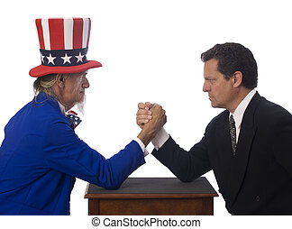 Governmental Opposition - Uncle Sam arm wrestling with a...