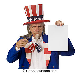 Uncle Sam Holding a Message - Uncle Sam holding a blank sign...