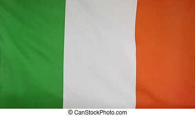 Flag of Ireland in slow motion - Textile flag of Ireland in...