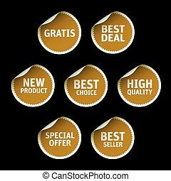 Set of Golden vector stickers on black background