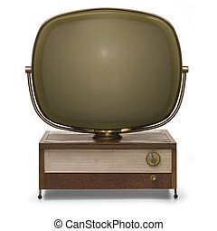 Retro TV modeled after the Philco Predicta isolated on a...