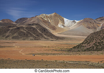 Landscape of the Altiplano - Colourful mountains at...