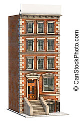 Apartment - Brownstone apartment building on a white...