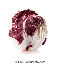 Radicchio, red salad isolated on white.