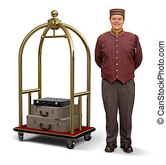 Bellhop with Luggage Cart - Bellhop in retro uniform and...