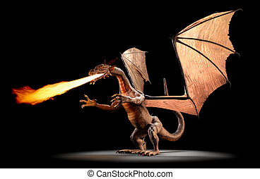 Fire Breathing Dragon - A fire breathing dragon on a black...