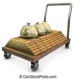 Gold on a dolly - Gold and sacks of cash on a dolly over a...