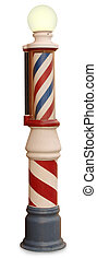 Barber Pole - Free standing vintage barber pole on a white...