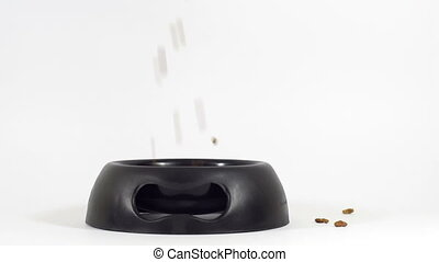 Pet Dish Food Pouring Overflow - Close up shot isolated on...