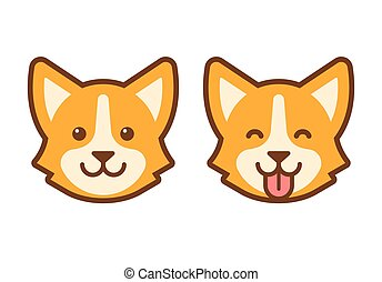 Corgi dog face icon - Cute cartoon corgi face. Flat dog head...