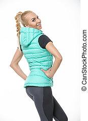 Blonde girl in the sportswear
