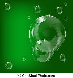 A green transparent bubbles illustration