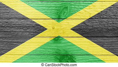 jamaica, bandera, en, Un, madera, tablón,