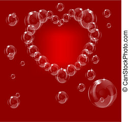A heart made from soap bubbles on a red background
