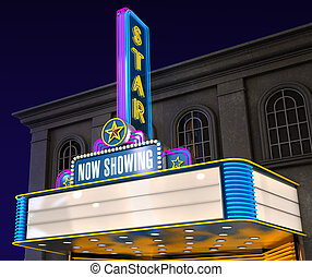 Movie Theatre - Exterior night shot of a retro illuminated...