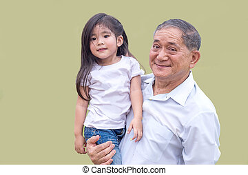 asian grandfather hold children on his arm - close up asian...