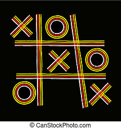 A retro Tic-tac-toe design on a black background