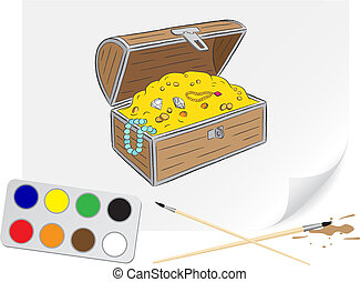 Drawing chest of treasures - Children drawing chest of...