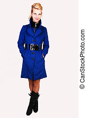 Pretty lady in blue coat - A pretty and tall woman in a blue...