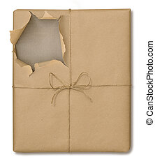 Brown Paper Package Opened - Brown paper package tied with...