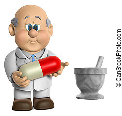 Pharmacist Wifred - A 3D illustrations of Wilfred Holding A...