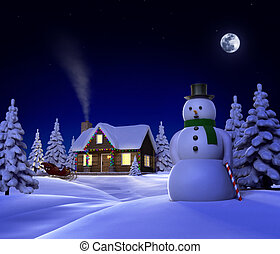 Christmas Snow Cabin - A christmas themed snow cene showing...