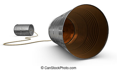 Tin Can Telephones - tin cans connected by string on dark...