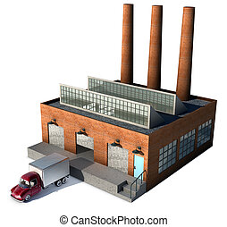 Factory - A small factory with a Cargo truck at a loading...