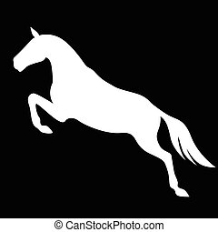 Silhouette of jumping horse on black background
