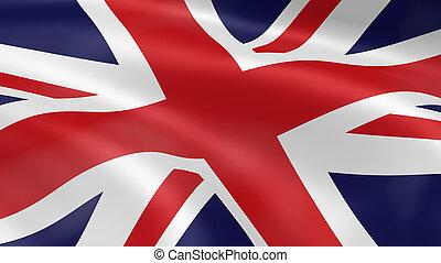 uni, royaume, drapeau, vent