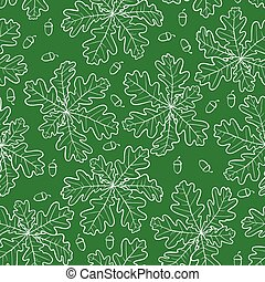 Oak leaves and acorn pattern seamless on green background
